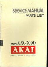 Orig Factory Akai GXC 709D Stereo Cassette Tape Deck Service Manual Parts List
