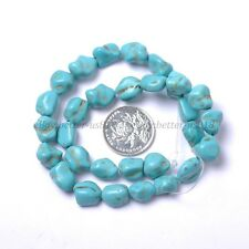 Howlite Turquoise Gemstone 12MM Freeformed Nugget Loose Beads 16'' Strand