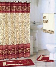 18 Piece Bath rug set SCROLL Burgundy Red bathroom shower curtain/rings towels