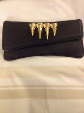 Maison Du Posh Black Leather / Gold Tone Claw Knuckle Ring Clutch
