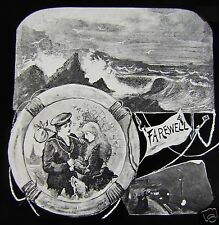 Glass Magic lantern slide FAREWELL C1900 NAUTICAL THEME CLOSING SLIDE