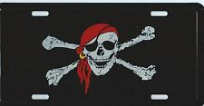 PLAQUE DE VOITURE AMERICAINE- SKULL CRANE / PIRATE -NEUVE- DECORATION USA/ BIKER