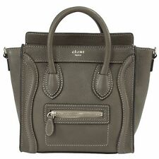 Celine Nano Luggage Pebbled Leather Tote Bag | Grey w/ Silver Hardware