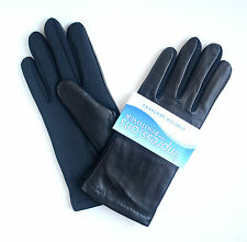 Isotoner Women's Genuine Leather Soft Fleece Lined Stretch Gloves Black One Size