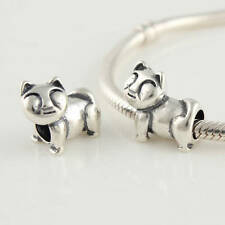 925 Solid Sterling Silver Cat Charm Bead.