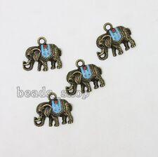 10x Alloy Animal Elephant Charms Antique Bronze&Enamel Pendants DIY Jewelry BS
