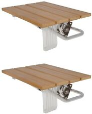 LOT 2~Folding Bath Seat Bench Shower Chair Wall Mount Solid Wood Construction