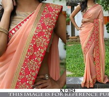 BEAUTIFUL BOLLYWOOD  PARTY WEAR PEACH  COLOR  DESIGNER BORDER SAREE