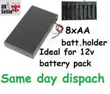 1 x pcs Black Plastic Battery Case Holder w switch 8 x 1.5V AA UK stock freepost