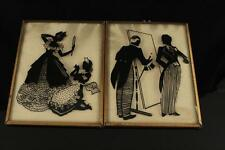 Vintage Lot Metal Framed Wall Art Miniature SILHOUETTE Pictures Butler & Maid