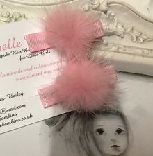 New Pair Of Baby Girls 3cm Mink Pom Clips Hair Slide Fur Baby Pink
