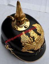 Imperial Officer's Fr Helmet WW1 WW2 German Prussian Leather Pickelhaube Helmet