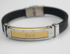 BEN - Bracelet With Name - Mens Silicone & Gold Tone Engraved - Gifts For Him