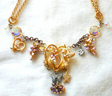 #1015 KIRKS FOLLY Vintage Necklace Ornate AB Rhinestone Hummingbird Butterfly