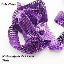 Ruban / Galon séquin paillette de 25 mm, vendu au mètre : Violet