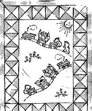 Vintage Embroidery Transfer repo 133 Baby's Train Quilt  Bunnies  PATTERN 1940s