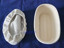 25cm Oval Banneton Brotform Bread Dough Paste Proofing Rattan Basket Free Liner