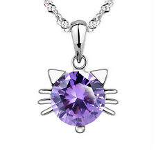 Silver Plated 925 Cat Kitten Purple Crystal CZ Droplet Pendant Necklace. 1595