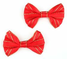 Zest 2 Christmas Hair Clips with Satin Bow Red & Gold