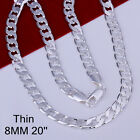 "925Sterling Silver Flat Sideway 8MM 18""-24"" Hot Selling Chains Necklace FN034"