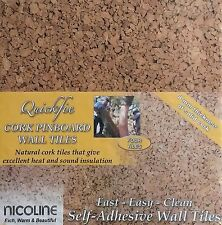 Self Adhesive Cork Pin Board Tiles - Noticeboard / Messages - 4 Pack