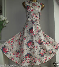 MONSOON CANDICE FLORAL 50'S ROCKABILLY VINTAGE PROM FIT N FLARE SUMMER DRESS 14