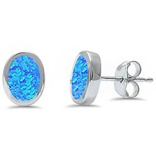 Oval Shape Blue Opal .925 Sterling Silver Earring