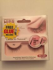 New-KISS LOOKS SO NATURAL FALSE EYELASHES- Style-Shy- Free Glue included
