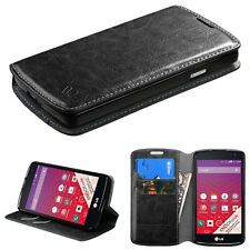 for LG OPTIMUS F60 TRIBUTE TRANSPYRE FOLIO CASE POUCH W/STAND COVER LS660 BLACK