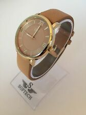F&MJ753 Gold & Tan Tone Women's Fashion Bracelet Softech Quartz Wrist Watch