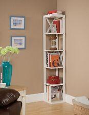 Kings Brand White Finish Wood Wall Corner 5 Tier Bookshelf Display Stand ~New~
