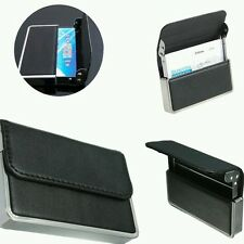 Mens Luxury Black Pocket Leather Stainless steel Business ID Credit Card Holder