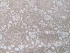 Quilt cotton fabric East Indian elephant tan tonal half yard cut 1/2 jungle