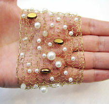 HAND KNITTED FROM GOLD WIRE AND  FRENCH PEARLS WIDE  BRACELET BANGLE