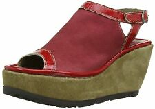 Fly London Pyle Women's Wedge Heel Sandals Ruby/Devil Red/Sand 4 UK