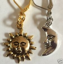 SUN AND MOON GOLD & SILVER TONE EARRINGS FOR PIERCED EARS