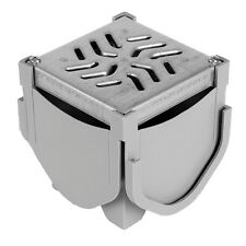 Source 1 Drainage Trench & Driveway Channel Drain Quad Connector w/ Steel Grate