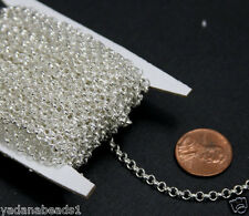 25ft spool of Silver Plated Rollo Chain 3.2mm Unsoldered Link