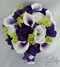 17 Piece Package Silk Flower Wedding Bridal Bouquets Sets PURPLE GREEN WHITE