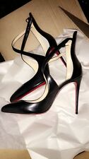 Authentic Christian Louboutin size 40 Marlenarock Cross Strap Black Leather