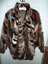 "Ladies real multi coloured mink fur coat 44""/46"" bust size 16/18 length 35"" vgc"