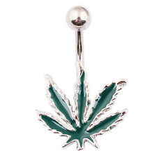 Un piercing nombril 1.6 mm feuille de cannabis rasta réf 100RASTA