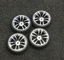 Chrome R/C 1/10 Scale Rims and Tires RC Car Pre-Glued !  4 Tec HPI Hot !!!!!!!!!