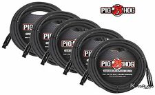 5 PACK Pig Hog 8mm Mic Cable, 15' foot XLR to XLR w/ LIFETIME Warranty PHM15