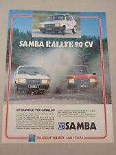 ADVERTISING PUBBLICITA'  SAMBA RALLYE 90 CV un diavolo per cavallo  - -  1983