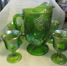 INDIANA GLASS GREEN CARNIVAL HARVEST GRAPE..LARGE TEA PITCHER & 4 STEMS  GOBLETS