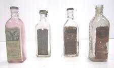 Vintage Embalming Fluid Glass Bottle Lot (4) Paraform Alcoform Glacial Poison