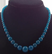 "Beautiful! Natural 6-14mm apatite Round Beads Necklace 18 ""AAA"