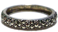 "DESIGNER ""A"" STERLING SILVER DOUBLE ROW MARCASITE ETERNITY RING BAND SIZE 9"