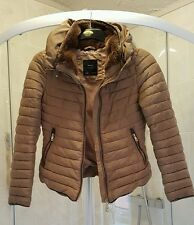 ZARA FUR COLLAR ANORAK JACKET COAT SIZE M 10 GORGEOUS CAMEL COLOUR EXCELLENT